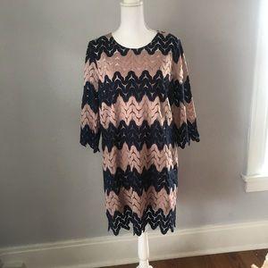 BCBGeneration Blue and Pink Zig Zag Lace Dress